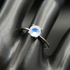 Blue Moonstone Solitaire Ring Size 8