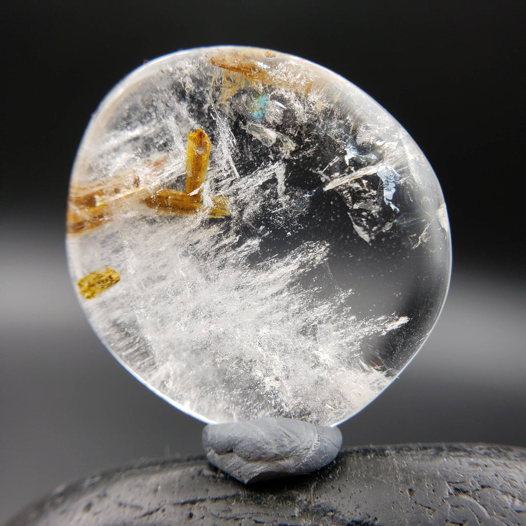 Golden Rutilated Quartz Pocket Palm Stone