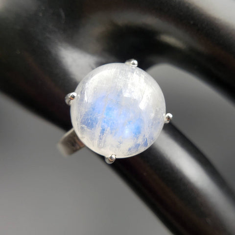 Moonstone Crystal Ball Moon Ring Size 6.5