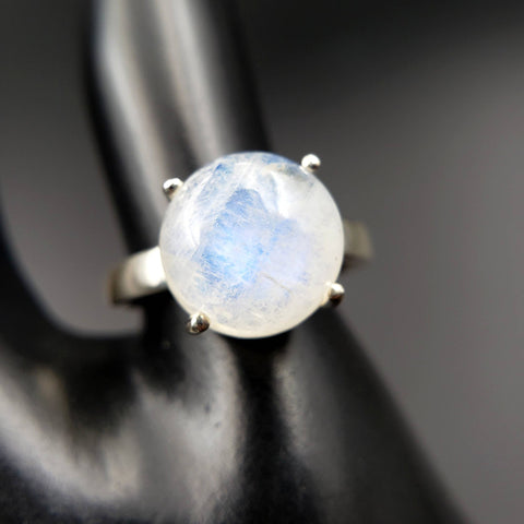 Moonstone Moon Ring Size 7