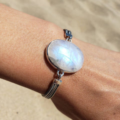 Rainbow Moonstone Silver Statement Bracelet