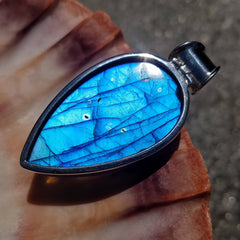 Large Blue Labradorite Silver Statement Pendant
