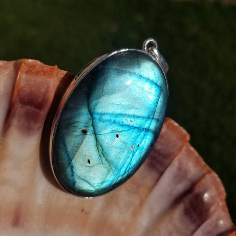 Large Aqua Blue Labradorite Statement Pendant