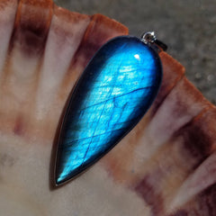 Blue Labradorite Silver Large Statement Pendant