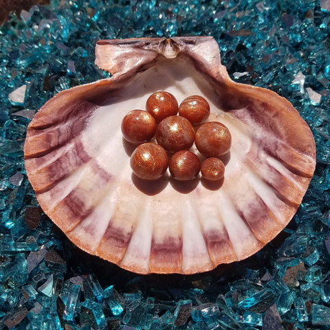 Sunstone Mermaid Crystal Ball Set with Seashell Holder