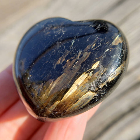 Rare Flashy Nuummite Heart Palm Stone