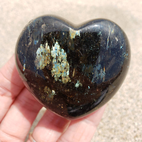 Genuine Nuummite Baby Blue Flash Heart