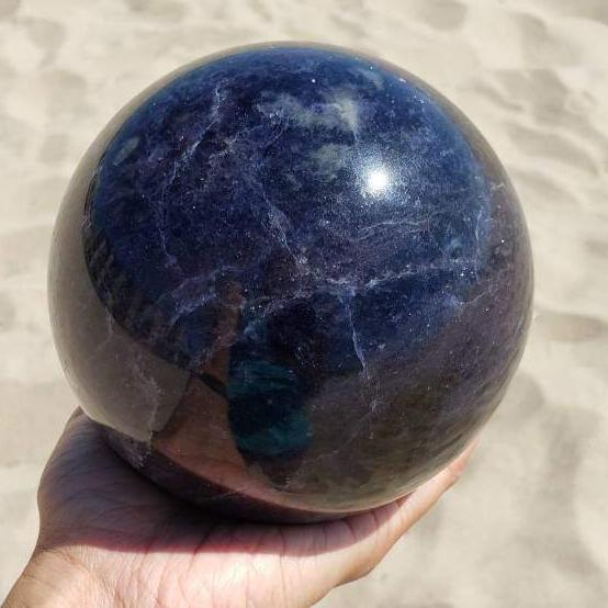 "Iolite Sunstone Large 5"" Sphere with Stand"