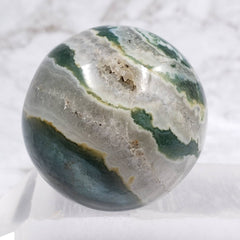 Green Sardonyx Sphere with Druzy