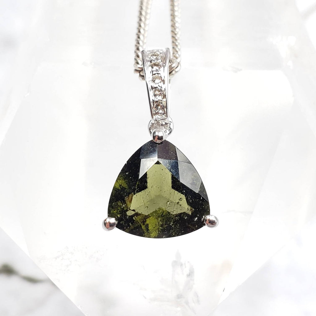 Genuine Moldavite White Topaz Trillion Pendant
