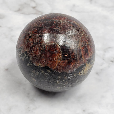 Garnet and Black Tourmaline Crystal Sphere