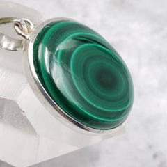 Ringed Malachite Sterling Silver Pendant