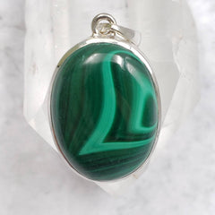 Malachite Sterling Silver Protection Pendant