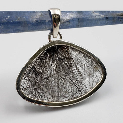 Black Tourmaline in Quartz Sterling Silver Pendant