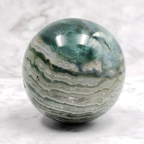 Green Sardonyx Sphere Crystal Ball Planet