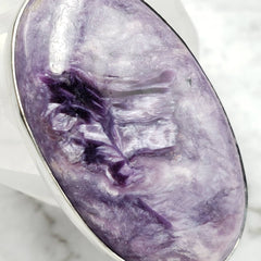 Lavender Charoite Shimmery Silver Oval Pendant