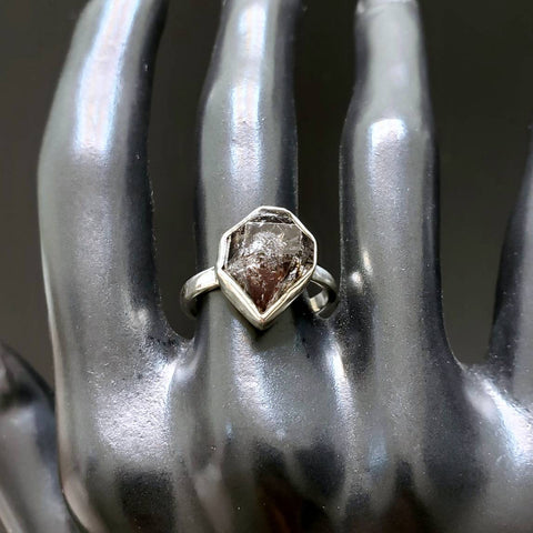 Herkimer Diamond Quartz Silver Ring Size 8