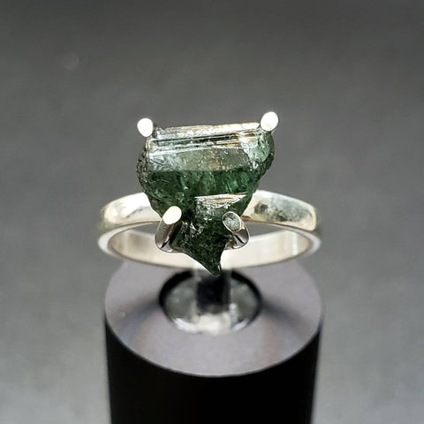 Raw Green Tourmaline Silver Ring Size 7