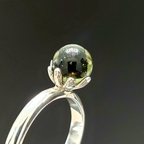 Moldavite Crystal Ball Silver Ring Size 6