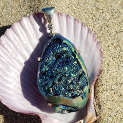Magical Rainbow Crystal Seashell Pendant