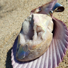 Rainbow Crystal Seashell Mermaid Pendant