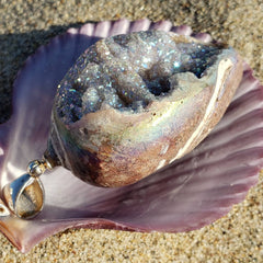 Rainbow Crystal Seashell Angel Aura Pendant