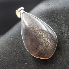 Meteor Shower Moonstone & Sunstone Silver Pendant