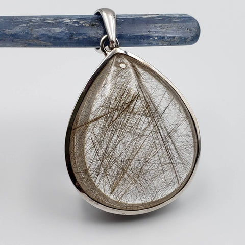 Golden Rutilated Quartz Silver Statement Pendant