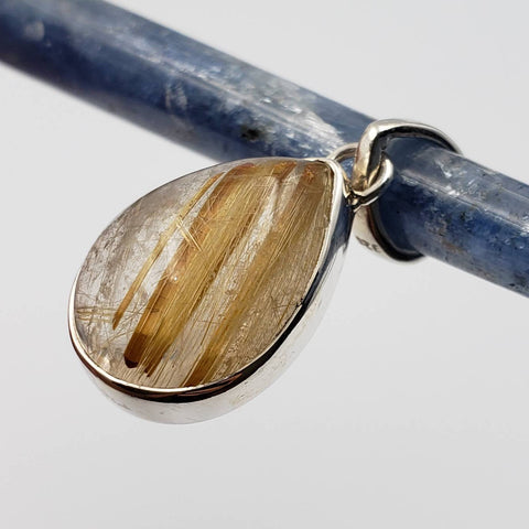 Golden Rutilated Quartz Silver Pendant