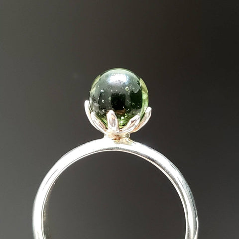 Moldavite Crystal Ball Silver Ring Size 8