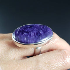 Charoite Oval Statement Ring - Size 8