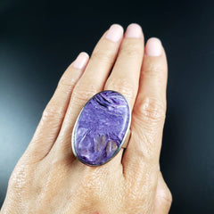 Charoite Adjustable Oval Statement Ring Size 7 8 9 10