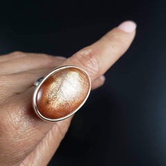 Flashy Sunstone Adjustable Silver Ring