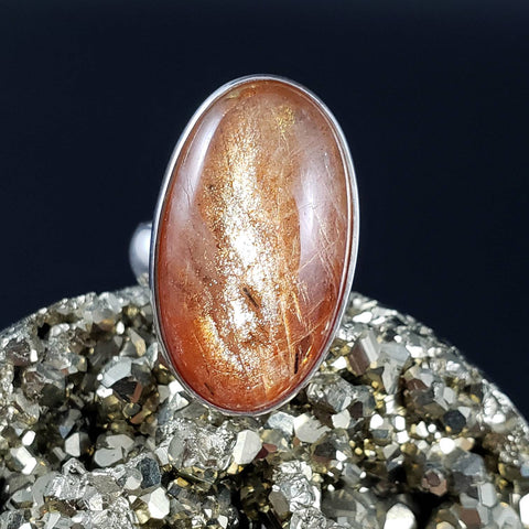 Flashy Sunstone Adjustable Silver Ring Fits Size 6 7 and 8