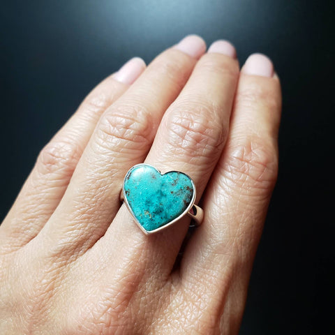 Chrysocolla Heart Adjustable Silver Ring