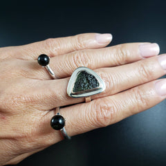 Genuine Moldavite Adjustable Silver Ring
