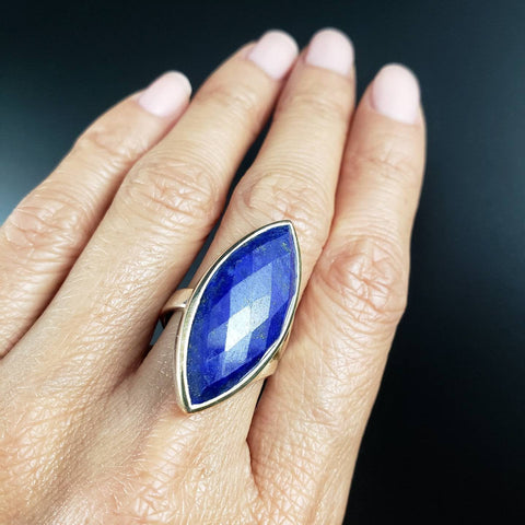 Lapis Lazuli Adjustable Marquise Ring