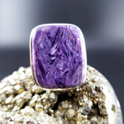 Charoite Adjustable Statement Ring - Fits Size 8 - 9
