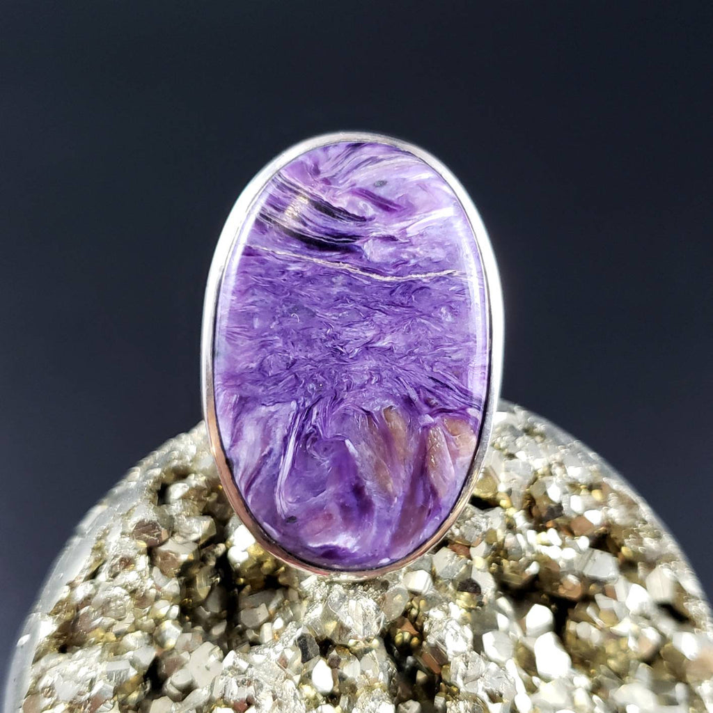 Charoite Adjustable Oval Statement Ring