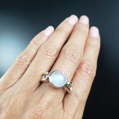 Moonstone Silver Link Ring - Size 8