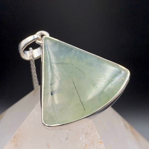 Prehnite and Rutilated Epidote Triangle Pendant