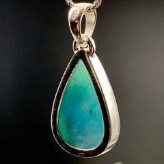 Larimar Dolphin Stone Waterdrop Silver Pendant