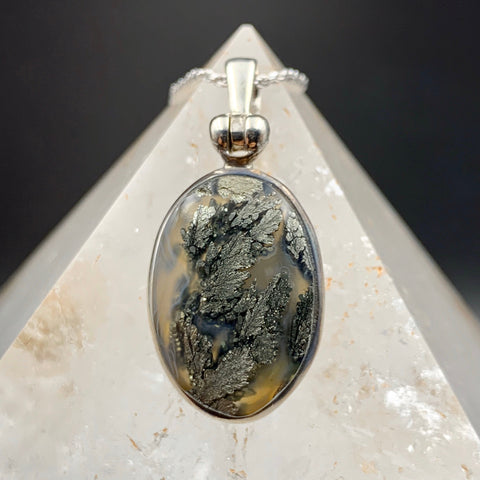 Mystical Moss Pyrite in Quartz Silver Pendant