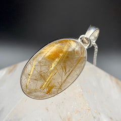Golden Rutilated Quartz Silver Oval Pendant