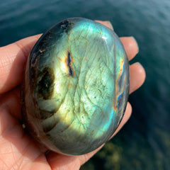 Matcha Green and Gold Labradorite Palm Stone