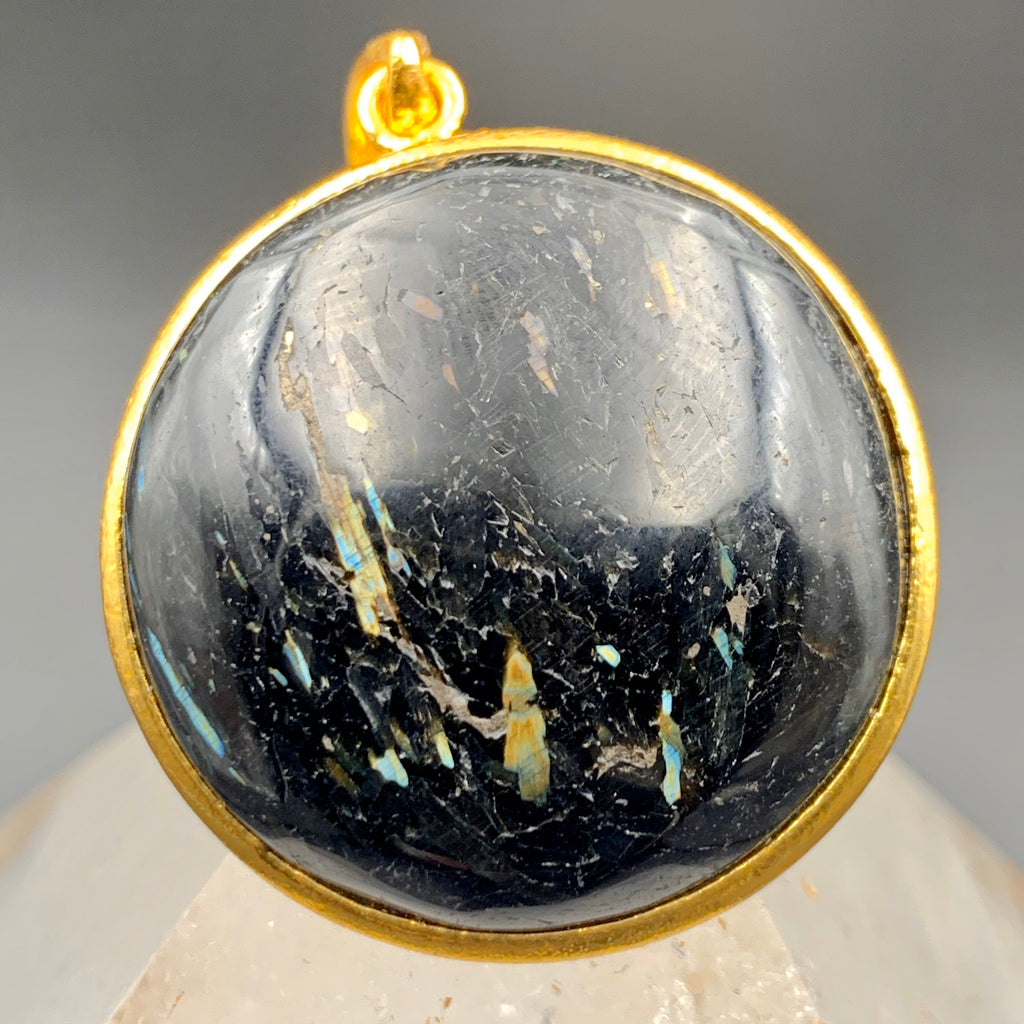 Rare Blue Flashy Nuummite Gold Pendant & Chain