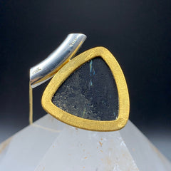 Nuummite Triangle Gold and Silver Pendant & Chain