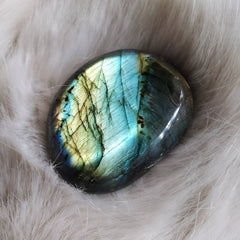 Aqua Blue Flash Labradorite Palm Stone