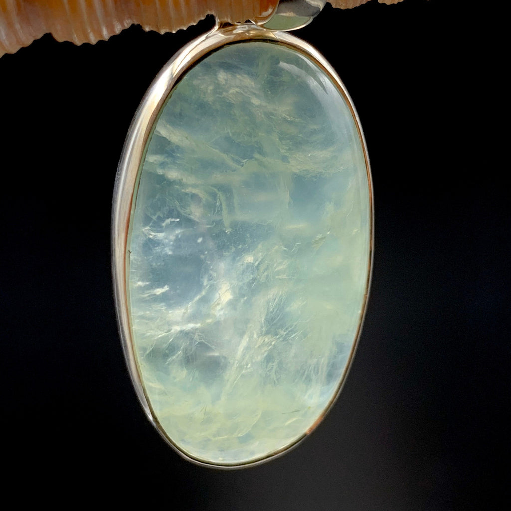 Apple Green Prehnite Crystal Oval Silver Pendant
