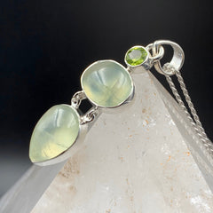 Prehnite and Peridot Triple Stone Pendant
